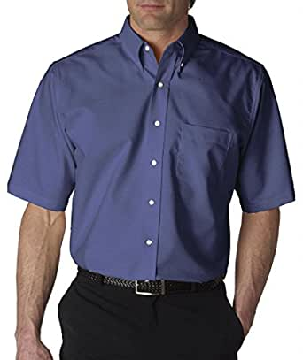 Ultraclub men 39 s classic wrinkle free short sleeve oxford for Wrinkle free dress shirts amazon
