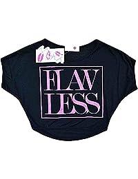 "Kids Girls New Season ""FLAWLESS"" Print Crop Top Stylish Fashion T Shirt Age 7-13"