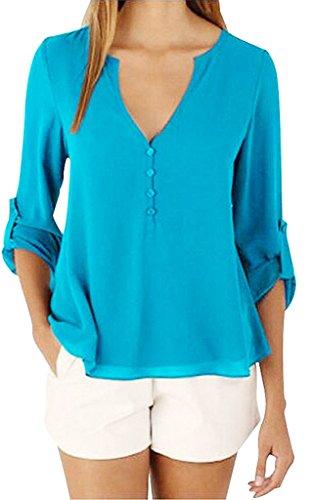 Sumtory Women's 3/4 Cuffed Sleeve Chiffon Blouse Button V Neck T Shirt(S-5XL) – Small, LightBlue