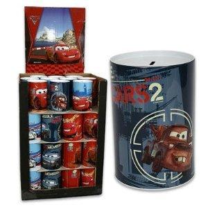Disney Pixar Cars 2 Jumbo Tin Money Bank Red (Can Tin Bank)
