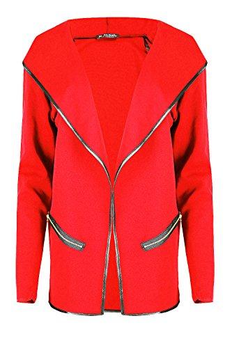 Femmes Capuche Poches Zippées Manches Longues Cardigan Devant Ouvert Femmes Baggy Veste élastique Hiver Chaud Pull Grande Taille UK 8-22 - Rouge, Plus Size (UK 16/18)