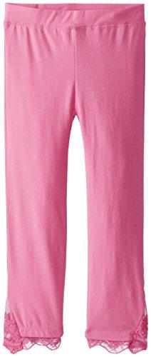 Dream Star Big Girls' Lace Trim Capri Leggings, New Pink, Small