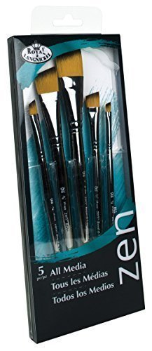 Royal & Langnickel Zen 5 Piece All Media Angular Paint Brush Set by Royal & Langnickel