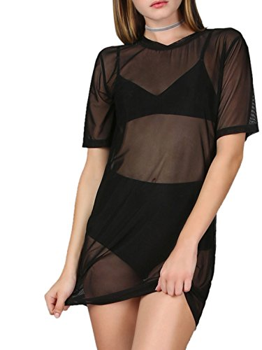 (MAKEMECHIC Women's Short Sleeve See Through Sheer Mesh T Shirt Dress Black XL)