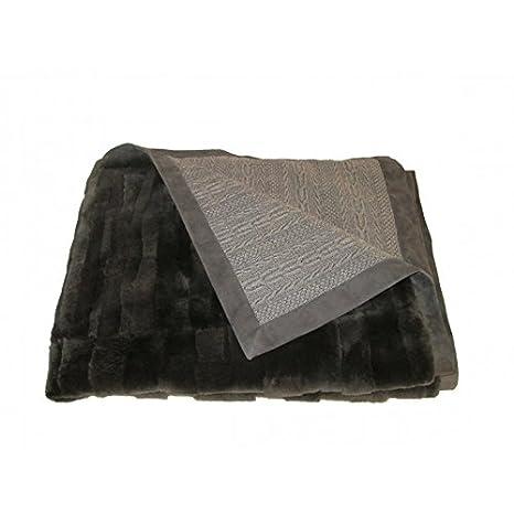 20960e7ee0c Shop-Artigian-Pelle Luxury Cloe-Plaid 100% Cachemire doppiato Fourrure avec  Bord Cuir  Amazon.fr  Cuisine   Maison