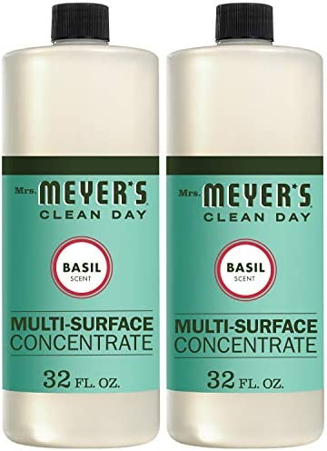 Mrs. Meyer`s Clean Day Multi-Surface Cleaner Concentrate Use to Clean Floors Tile CountersBasil Scent 32 oz- Pack of 2