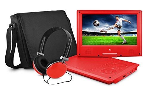Ematic Portable DVD Player with 9-inch LCD Swivel Screen, Travel Bag and Headphones, Red by Ematic