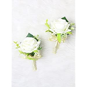 Secret Garden Luxury Roses Boutonniere Pins for Wedding prom party (2pcs) (Ivory Gold theme) 78