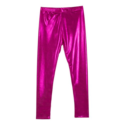 Pink Hot Pants (Cris Ti Na Girl's Shiny Metallic Dance Leggings Pants Hot Pink 9-10 Years)
