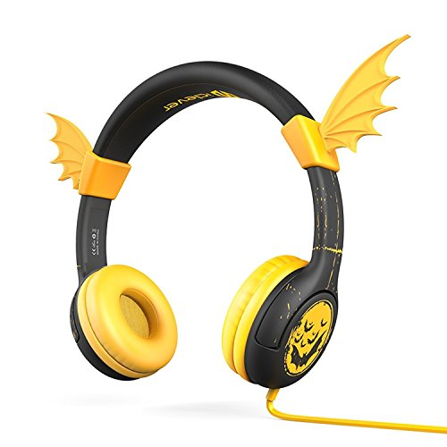 [Safety Kids Headphones] iClever 85db Volume Limiting BoostCare HS02 Silicone Wing Wired Bat-Inspired Childrens Over The Ear Headsets, Tangle Free Cord for for iPad, Kids Tablet, Yellow