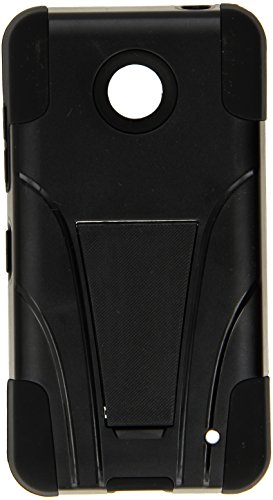 Amzer Double Layer Hybrid Case Cover with Kickstand for Nokia Lumia 635/630 - Retail Packaging - Black (Phone 630 Cell Case Nokia)