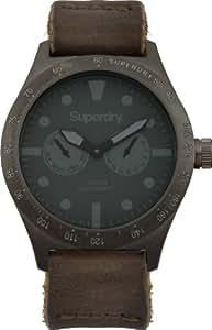 Superdry SYG106E - Reloj analógico de cuarzo para hombre con correa de piel, color negro