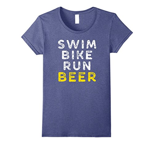 Womens Triathlon Triathlete Swim Bike Run Beer Funny T Shirt Small Heather - Ladies Triathlon