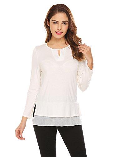 Grabsa Women's Round Neck Keyhole Tunic Tops Long Sleeve T-Shirts Blouses With Chiffon Hem White Medium (Layered Chiffon Blouse)
