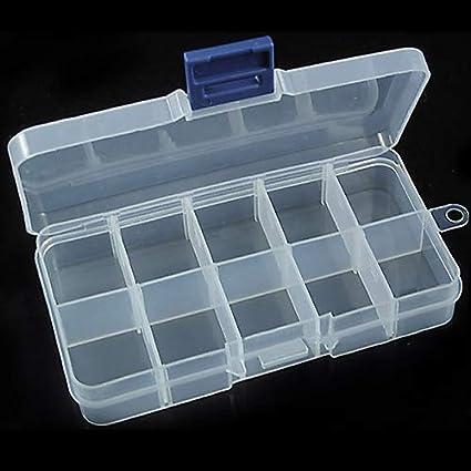 wiFndTu Caja de almacenamiento para joyas, pastillas, perlas, organizador de cajas, 10 compartimentos para uñas: Amazon.es: Belleza