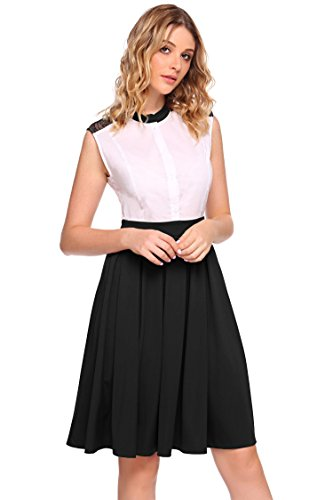 Long Women Stand Button Bulges Patchwork Black Down Color Contrast Dress Pleated Sleeveless Collar vTq5dFw