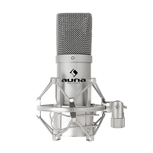 auna MIC-900S USB Cardioid Condenser Microphone • Studio Recording • Spider Shockmount • Plug & Play • 320Hz - 18KHz • Built-In 16mm Capsule • Silver by auna