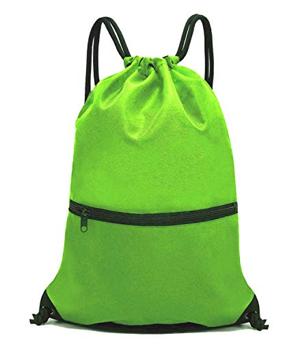 HOLYLUCK Men & Women Sport Gym Sack Drawstring Backpack Bag - Green -