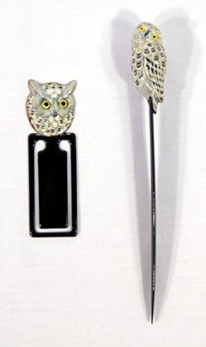 Hand Painted White Snowy Owl Bird Letter Opener Bookmark Set (Set of - Opener Letter Star