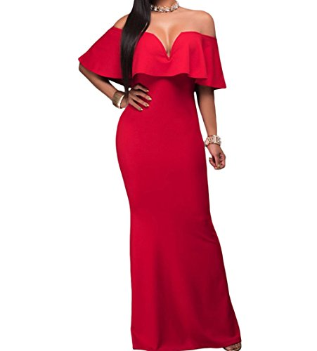 YeeATZ Elegant Ruffle Off Shoulder Maxi Party Dress(Red,S)