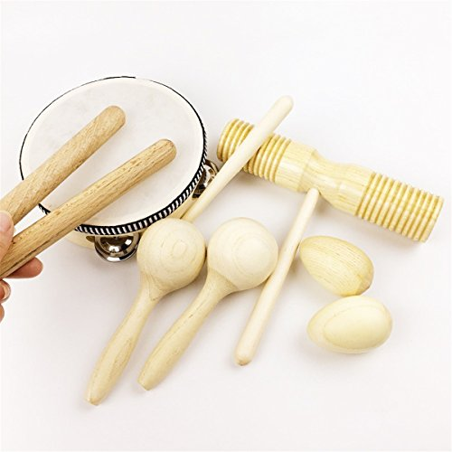 Wood Baby Toy 8pcs Drum Eggs Baby Wooden Rattle Montessori Toys Baby Gift Development Toys for Child Baby Teether Toys