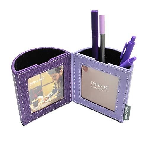 Bellagenda Desk Organizer Picture Frame| Pen Pencil Holder with Photo Frames | Desk Decoration | Multiple Picture Frame | Functional Desk Stationery | Space Saver | PU Leather & Suede -