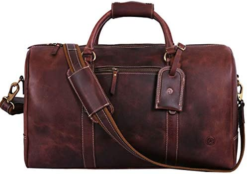 Leather Travel Duffle Bag Gym Sports Bag Airplane Luggage Carry-On Bag By Aaron Leather Walnut