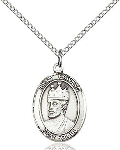 Edward Pendant Medal - Sterling Silver Saint Edward the Confessor Medal Pendant, 3/4 Inch