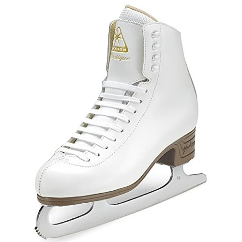 Leather Lined Girls Figure Skates - Jackson Ultima Mystique JS1490 White Womens Ice Skates, Size 7