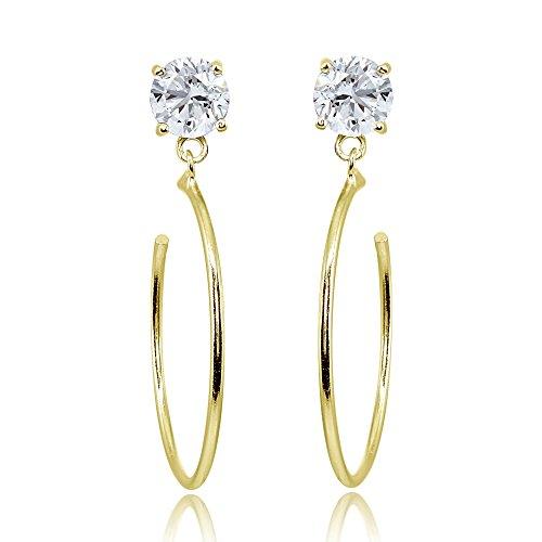 Yellow Gold Flashed Sterling Silver 6mm Cubic Zirconia Dangling Half Hoop Stud Earrings