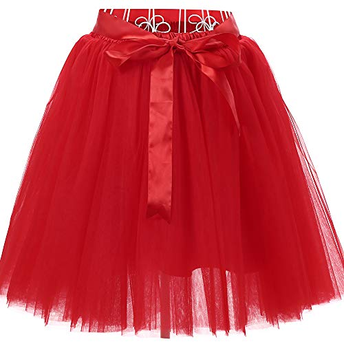 Women's High Waist Princess Tulle Skirt Adult Dance Petticoat A-line Wedding Party Tutu(Red),One Size -