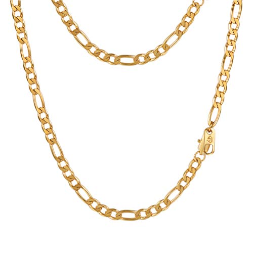 (PROSTEEL Layering Layered Women Necklace Chain,18K Gold Plated,Hip Hop Jewelry,Flat Curb Chain,26inches,Figaro Link Chain)