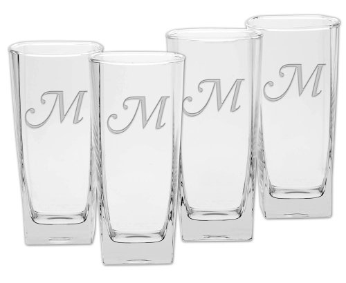 Culver Deep Etched Cooler Glass, 16-Ounce, Monogrammed Letter-M, Set of 4