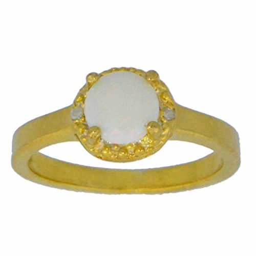Genuine Opal & Diamond Round Ring 14Kt Yellow Gold Plated Over .925 Sterling Silver 14kt Genuine Birthstone Mothers Ring