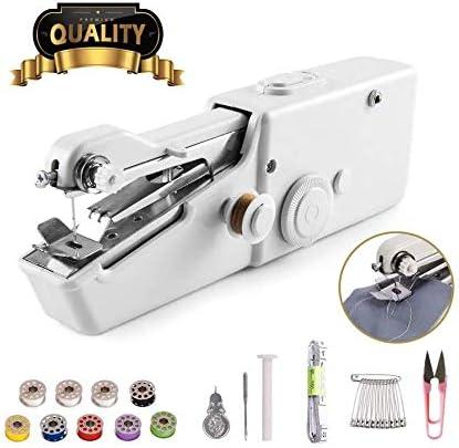 Máquina de coser de mano – Mini máquina de coser portátil de mano máquina de coser eléctrica, máquina de coser rápida y práctica para tela, ropa, tela para niños uso en el hogar o viajes