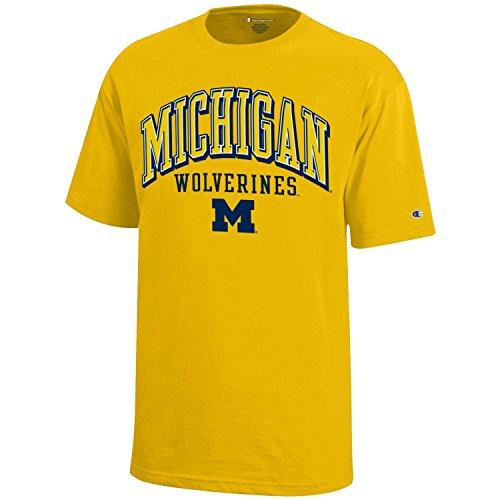 NCAA Michigan Wolverines Youth Boys Champion Short sleeve Jersey T-Shirt, Medium, Yellow - Ncaa Michigan Wolverines Jersey