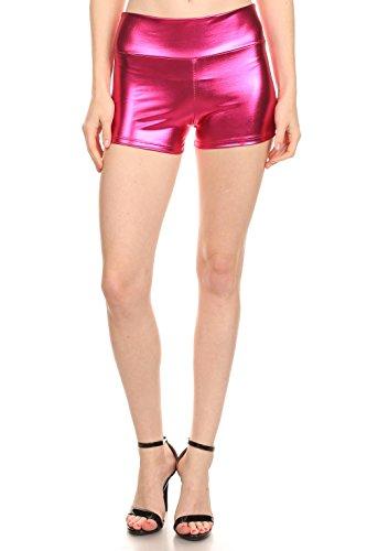 [Neon Fuchsia Hot Pink Shorts Booty Disco Metallic Shorts] (Neon Outfits)