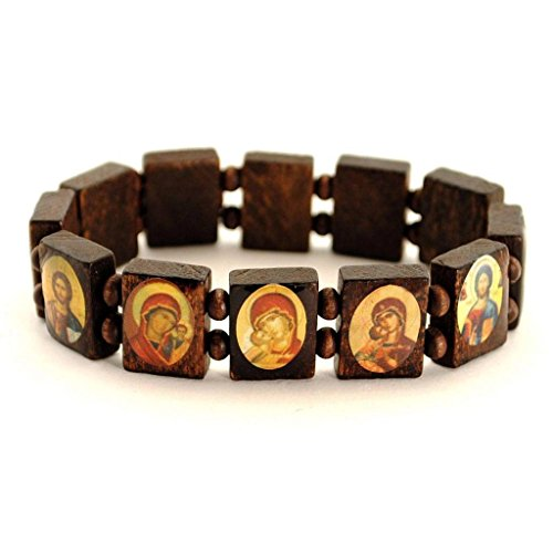 didit_li 12Pcs/Lot Saint Bead Bracelet Greek Orthodox Brown Wood Stretch Icon Elastic