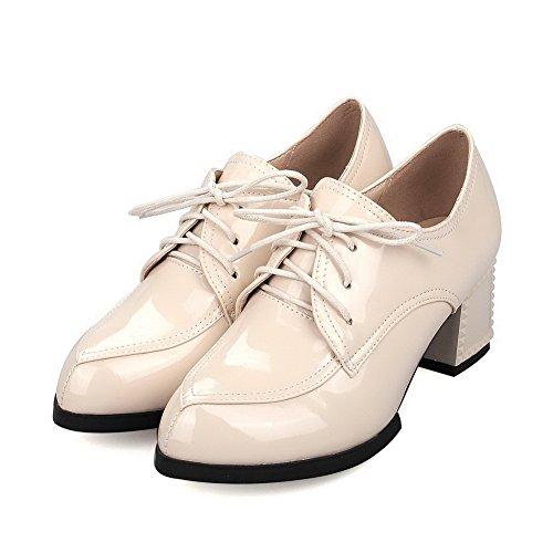 AllhqFashion Damen Hoher Absatz Rein Schnüren Lackleder Spitz Zehe Pumps Schuhe Aprikosen Farbe