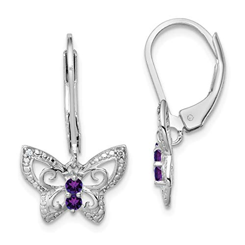 Purple Amethyst Diamond Butterfly Leverback Earrings Lever Back Drop Dangle Animal Fine Jewelry For Women Gift Set ()