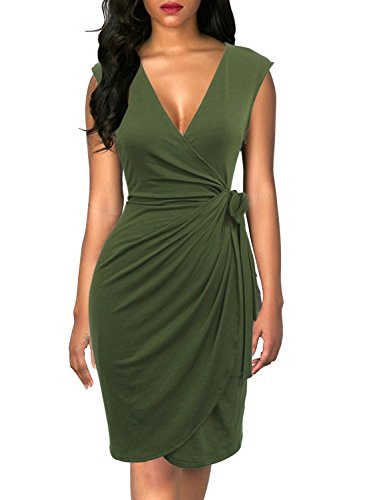 Ruched Dress - Berydress Women's Classic Cocktail Party Cap Sleeve Deep V Neck Draped Waist Tie Belt Knee-Length Faux Wrap Dress (L, 6028-Army Green)