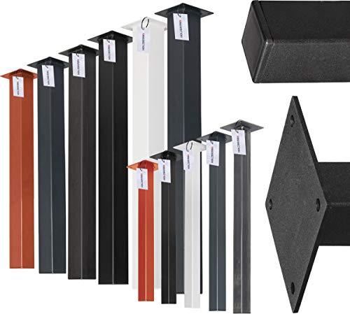 HOLZBRINK Pata de la Mesa de Acero, Perfil Cuadrado 40x40 mm, Altura: 72 cm, Negro Intenso, 1 Piezas, HLT-14A-F-72-9005