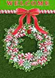 Peppermint Wreath – 28 Inch By 40 Inch Large Decorative Flag – Winter Christmas For Sale