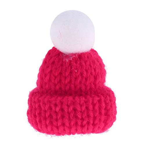 (NATFUR 1:12 Rosy Knitted Beanie Hat Cap Dolls House Miniature Clothing Accessory )
