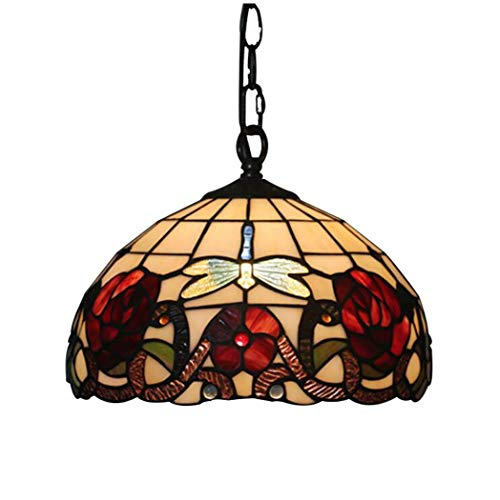 - ChuanHan Tiffany Style Chandelier/Pendant Lamp, European Style Styley Design Stained Glass Hanging Lamp, Antique Personality Bar Dining Room Cafe Decoration Chandelier, c