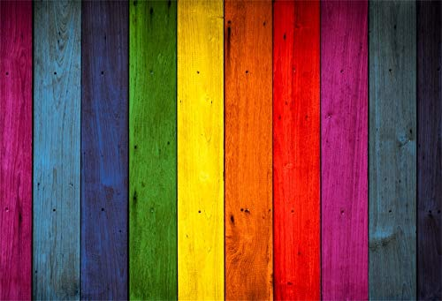 LFEEY 9x6ft Wood Backdrops for Photography Rainbow Colorful Wooden Wall Baby Shower Photo Background Indoor Decors Wallpaper Children Kids Adults Portraits Photo Studio