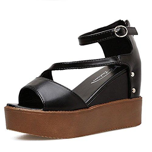 para Mujer de Zapatos Primavera Negro Exterior US8 de CN39 Cuña Tacón de Sandalias ZHZNVX Negro Comodidad PU Casual UK6 Blanco Verano UE39 fAxqq7v