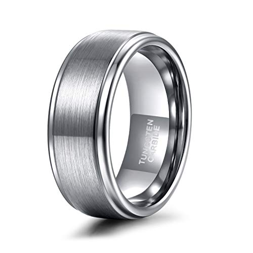 Shuremaster Mens Tungsten Carbide Ring 8mm Stepped Edge Matte Brushed Finish Wedding Band 13.5