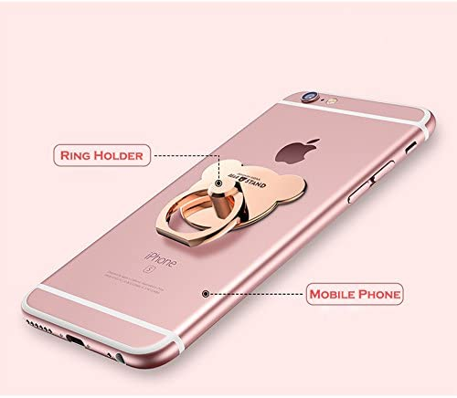 Cell Phone Finger Ring Holder 2pc Samsung Galaxy S8 S7 Edge S6 Note 8 5 Tablet Universal Smartphone Bracket Animal Bear Ring Grip Kickstand for iphone X 8 8S 7 Plus 6 6S 5 5C 5S Rose Gold, Gold