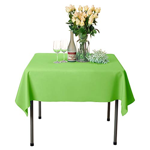 VEEYOO Square Tablecloth 100% Polyester Table Cloth for Indoor and Outdoor Table - Solid Dinner Tablecloth for Wedding Party Restaurant Coffee Shop (Apple Green, 54x54 inch) ()